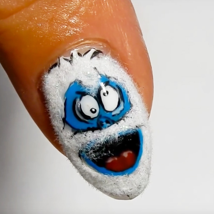 Snowman Nail Art Tutorial: Nail Art Tutorial: Abominable Snowman