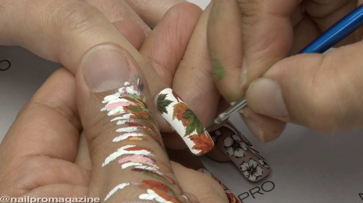 Learn How to Hand-paint Detailed Leaf Nail Art Perfect for Fall
